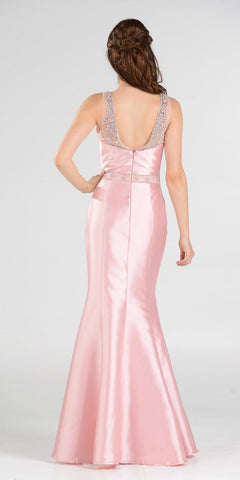 Blush Illusion Beaded Neckline Long Mermaid Prom Dress Mikado