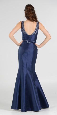 Navy Blue Illusion Beaded Neckline Long Mermaid Prom Dress Mikado