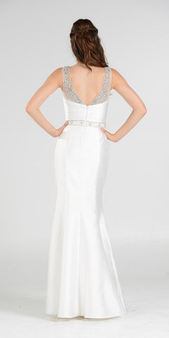 Off White Illusion Beaded Neckline Long Mermaid Prom Dress Mikado