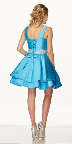 Juliet 773 Short Prom Dress Embellished Waist Corset Back Turquoise