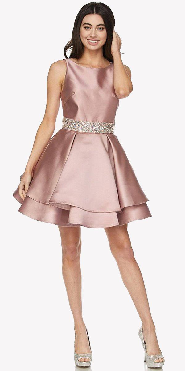Juliet 773 Short Prom Dress Embellished Waist Corset Dusty Rose