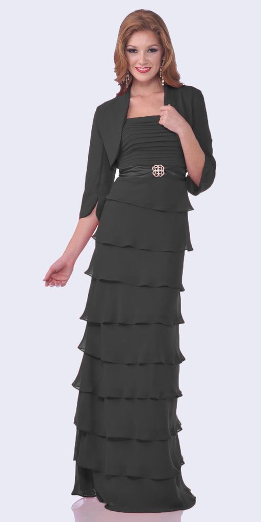 Modest Floor Length Black Formal Dress Tiered Skirt Layered Jacket