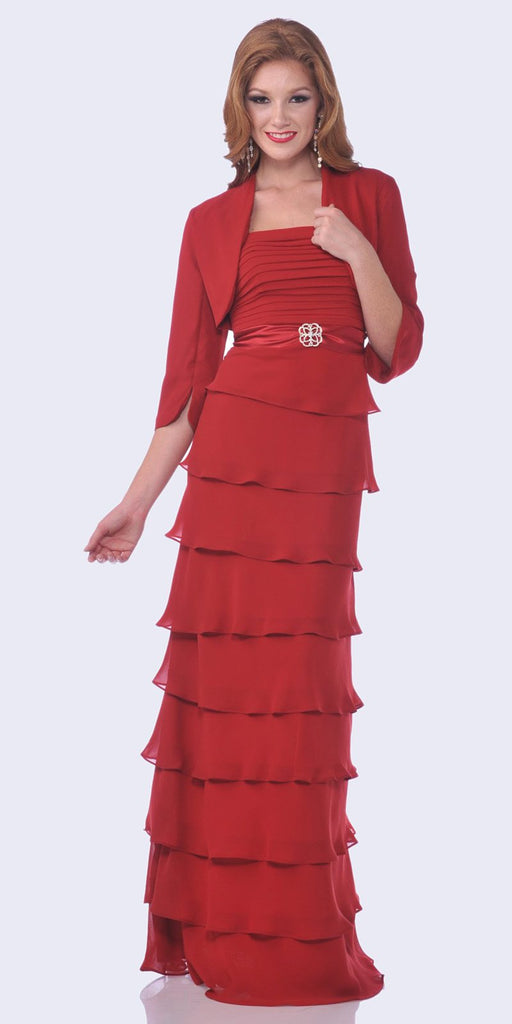 Modest Floor Length Red Formal Dress Tiered Skirt Layered Jacket