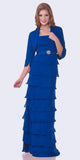 Modest Floor Length Royal Blue Formal Dress Tiered Skirt Layered Jacket