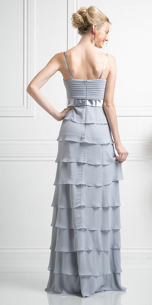 Modest Floor Length Silver Formal Dress Tiered Skirt Layered Jacket