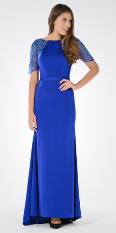 Sheer Embroidered Sleeves Fit and Flare Evening Gown Cobalt