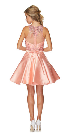 Juliet 774 Illusion Embellished Bodice Homecoming Party Dress Peach