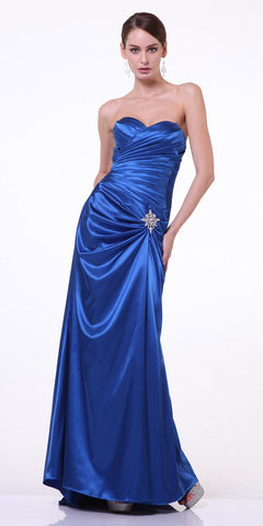 Royal Blue Satin Dress Pleated Bodice Strapless Corset Back