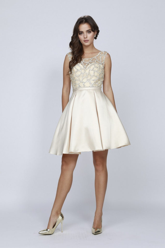 Illusion Neck Embellished Homecoming Dress Champagne