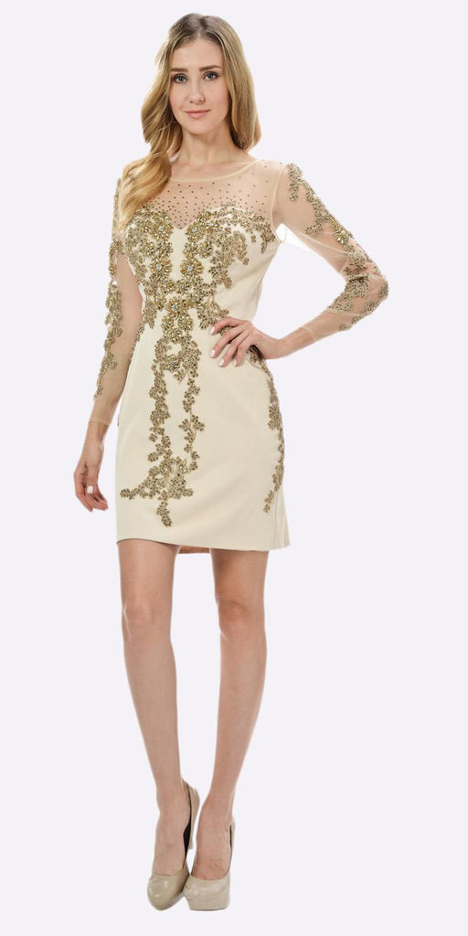 Champagne Sheer Embellished Sleeves Short Illusion Party Dress