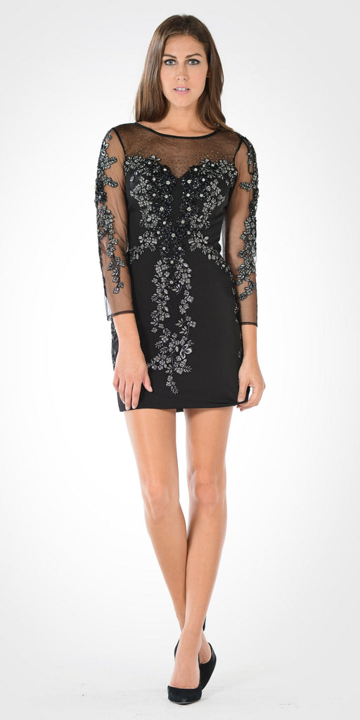Black/Silver Sheer Embellished Sleeves Short Illusion Party Dress