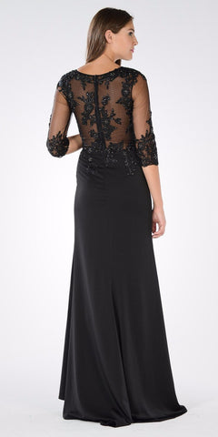 Illusion Lace Top Mid Sleeves Fit and Flare Formal Dress Black
