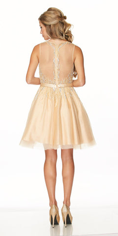 Juliet 776 Sequins Embellished Bodice Illusion Short Prom Dress Gold