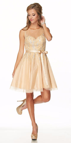 Sequins Embellished Bodice Illusion Short Prom Dress Gold