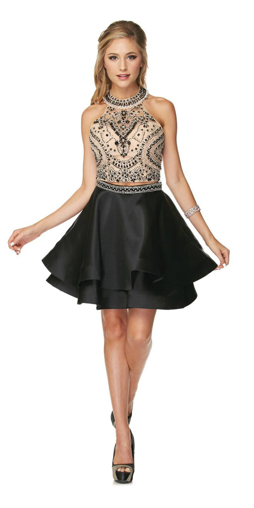 Two-Piece Short Prom Dress Halter Embellished Bodice Black