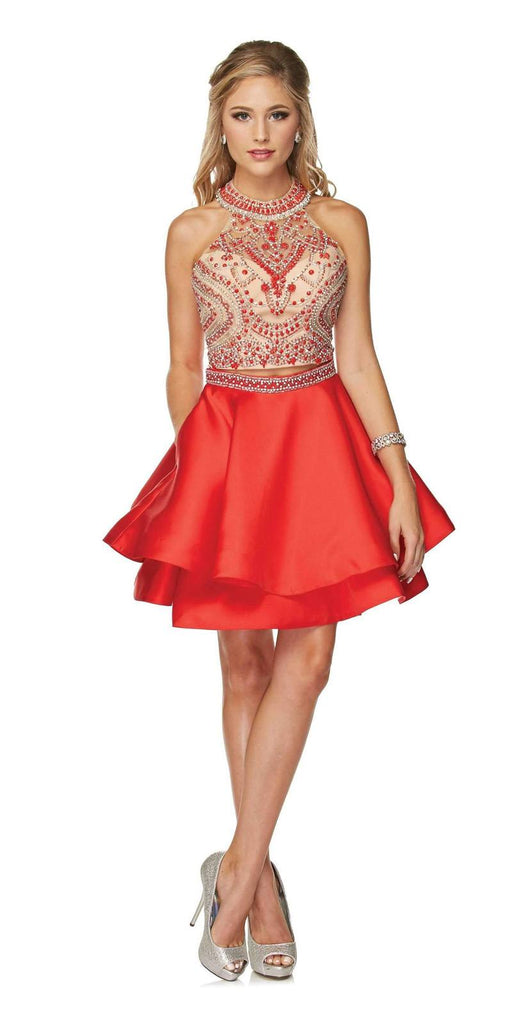 Two-Piece Short Prom Dress Halter Embellished Bodice Red