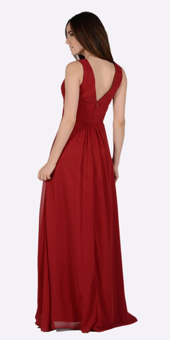 Burgundy V-Neck Shirred Bodice Embellished Waist Formal Dress Back View
