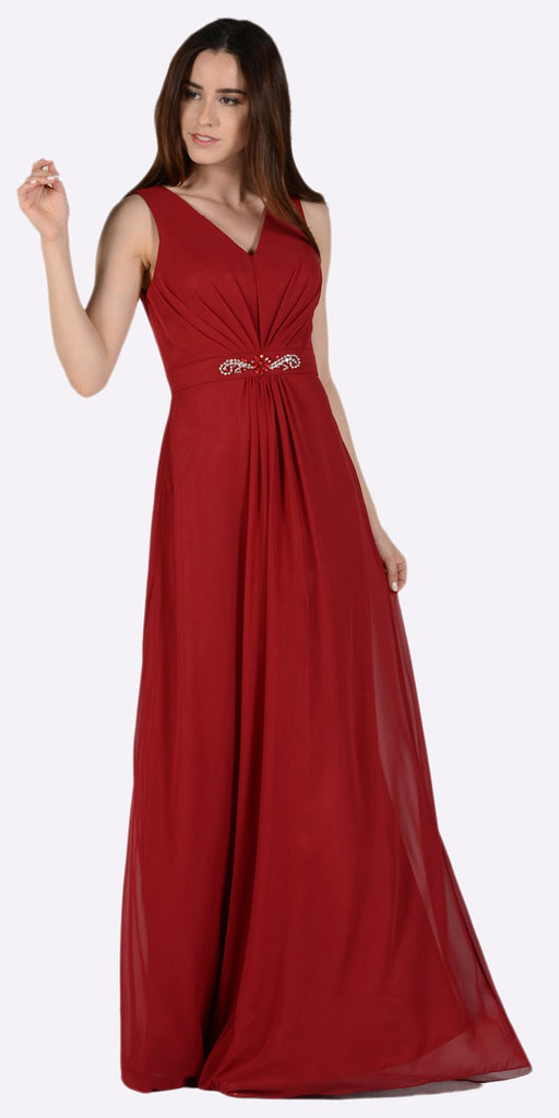 Burgundy V-Neck Shirred Bodice Embellished Waist Formal Dress No Jacket