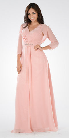 Blush V-Neck Shirred Bodice Embellished Waist Formal Dress