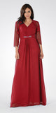 Burgundy V-Neck Shirred Bodice Embellished Waist Formal Dress