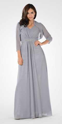 Gray V-Neck Shirred Bodice Embellished Waist Formal Dress