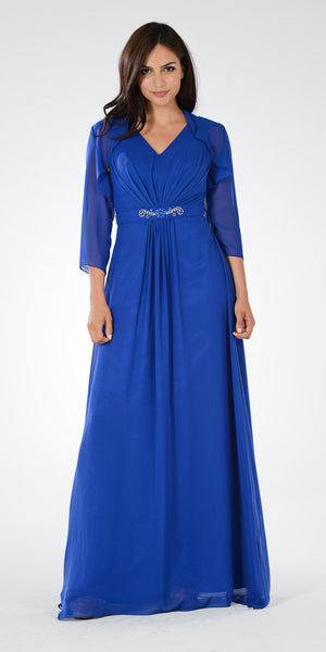 Royal Blue V-Neck Shirred Bodice Embellished Waist Formal Dress