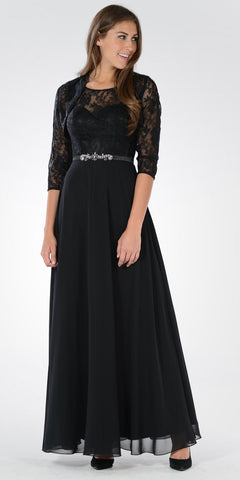 Sleeveless A-line Formal Dress with Mid Sleeves Lace Bolero Black