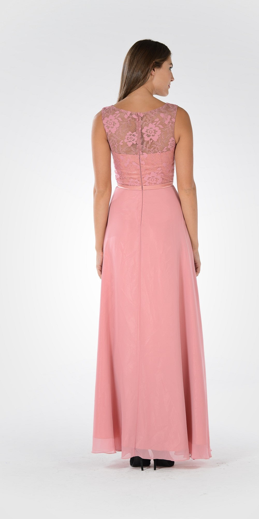 Poly USA 7772 Sleeveless A-line Formal Dress with Mid Sleeves Lace ...