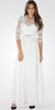 Sleeveless A-line Formal Dress with Mid Sleeves Lace Bolero Off White