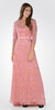 Illusion Lace V-Shape Back A-line Gown with Mid Sleeves Bolero Dusty Rose