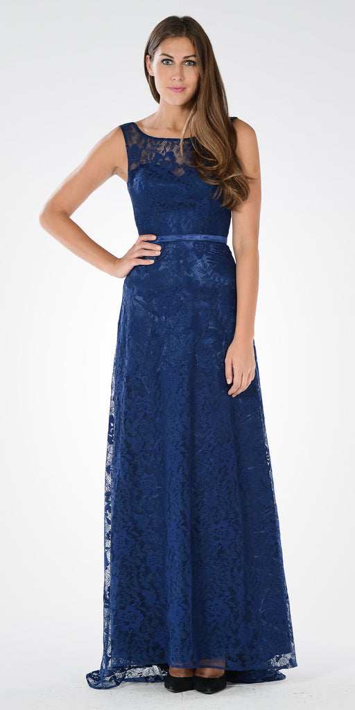 Illusion Lace V-Shape Back A-line Gown with Mid Sleeves Bolero Navy Blue