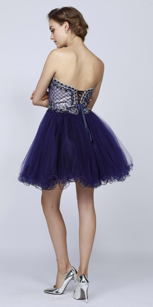 Juliet 778 Navy Blue Sweetheart Neckline Corset Back Homecoming Dress