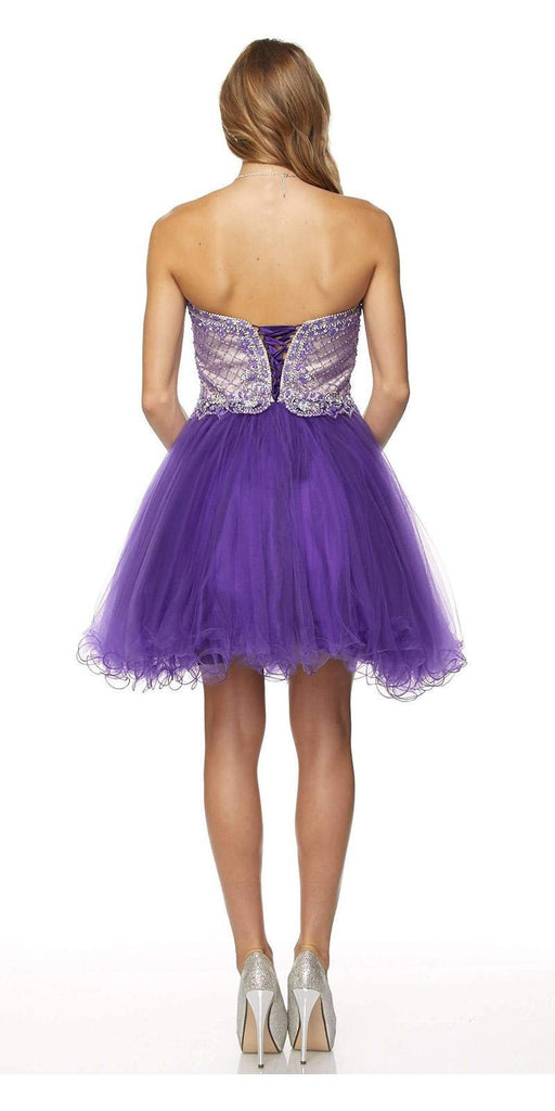 Juliet 778 Purple Sweetheart Neckline Corset Back Homecoming Dress