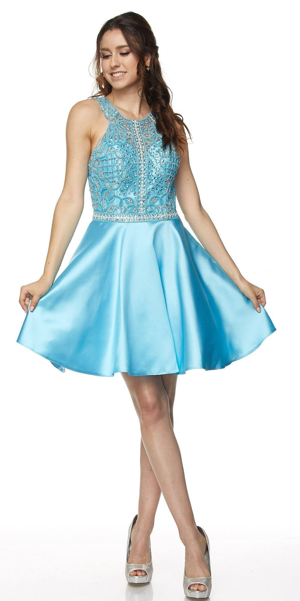 Juliet 779 Silver Embellished Bodice Short Prom Dress Sleeveless ...