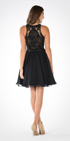 Round Neck Embroidered Top Chiffon Skirt Homecoming Dress Black
