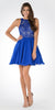 Round Neck Embroidered Top Chiffon Skirt Homecoming Dress Cobalt