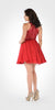Round Neck Embroidered Top Chiffon Skirt Homecoming Dress Red