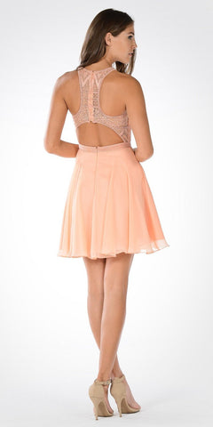 Lace Top Racer Cut Out Back Chiffon Skirt Short Party Dress Light Coral