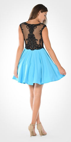 Black/Aqua Sheer Illusion Top Chiffon Skirt Cap Sleeve Party Dress Short