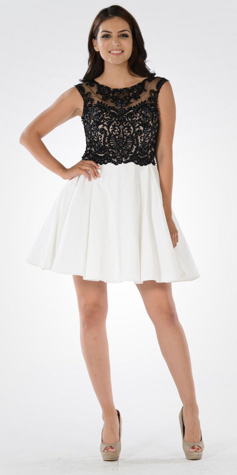 Black/White Sheer Illusion Top Chiffon Skirt Cap Sleeve Party Dress Short