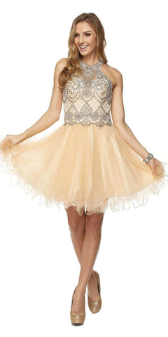 Short Sleeveless Two Piece Dress Gold Lace Bodice