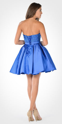 Sweetheart Neckline Lace Top Satin Pleated Skirt Babydoll Dress Cobalt