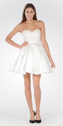 Sweetheart Neckline Lace Top Satin Pleated Skirt Babydoll Dress Off White