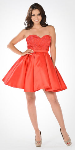Sweetheart Neckline Lace Top Satin Pleated Skirt Babydoll Dress Red