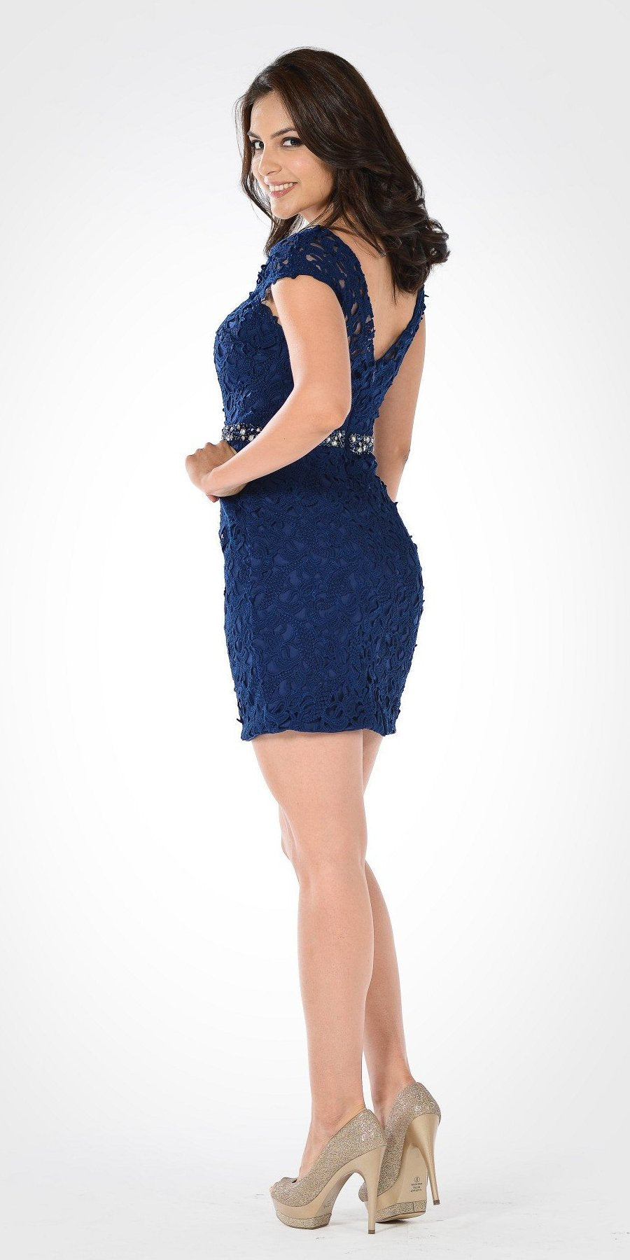 Lace Bodycon Cap Sleeves Embellished Waist Cocktail Dress Navy Blue