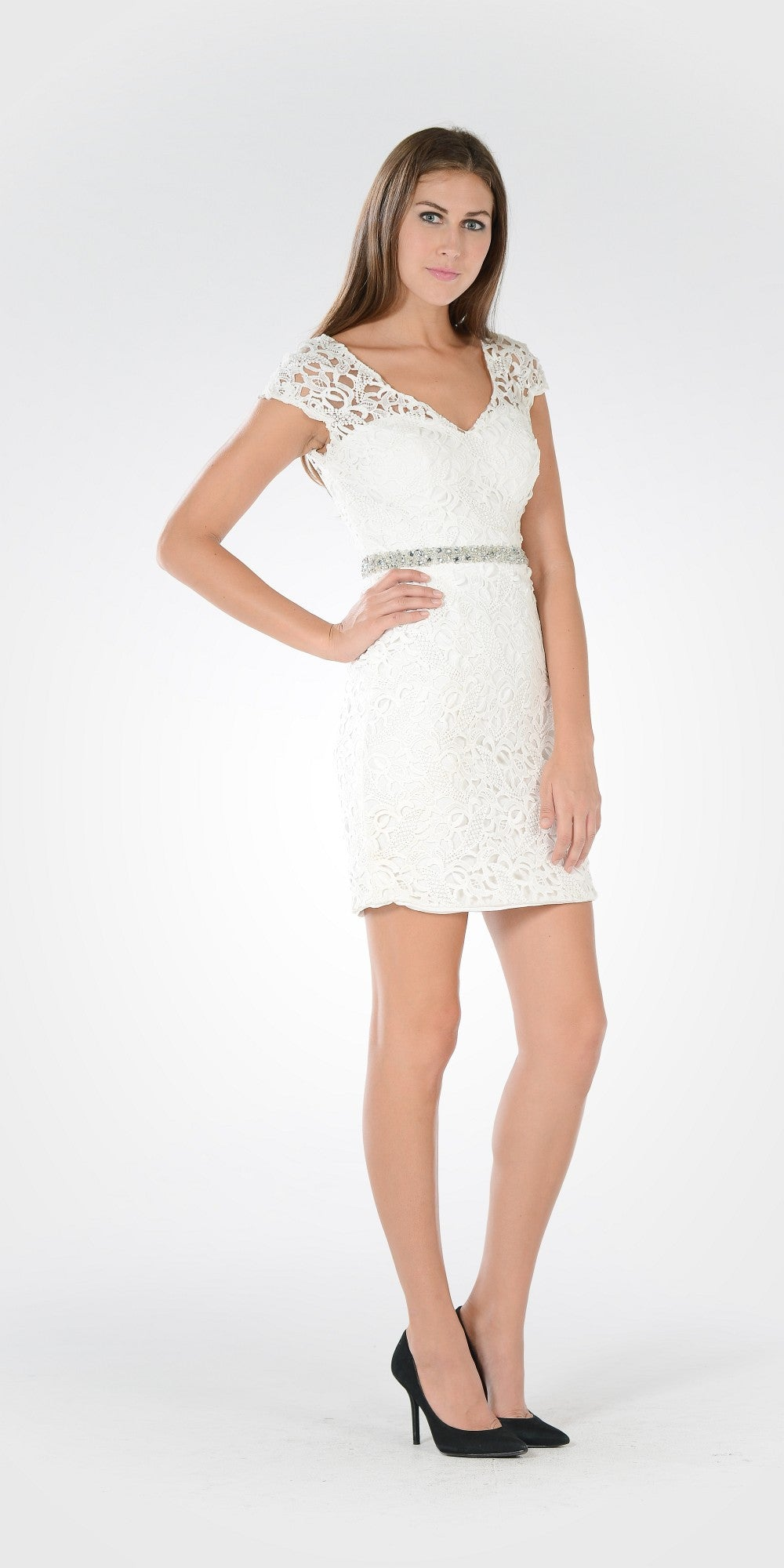 Lace Bodycon Cap Sleeves Embellished Waist Cocktail Dress Off White