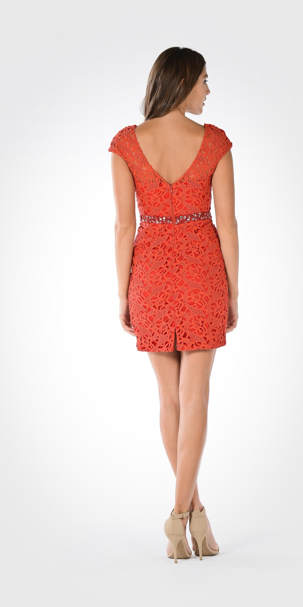 Lace Bodycon Cap Sleeves Embellished Waist Cocktail Dress Red