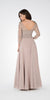 V-Neck Mid Sleeves Lace Top A-Line Formal Dress Long Beige