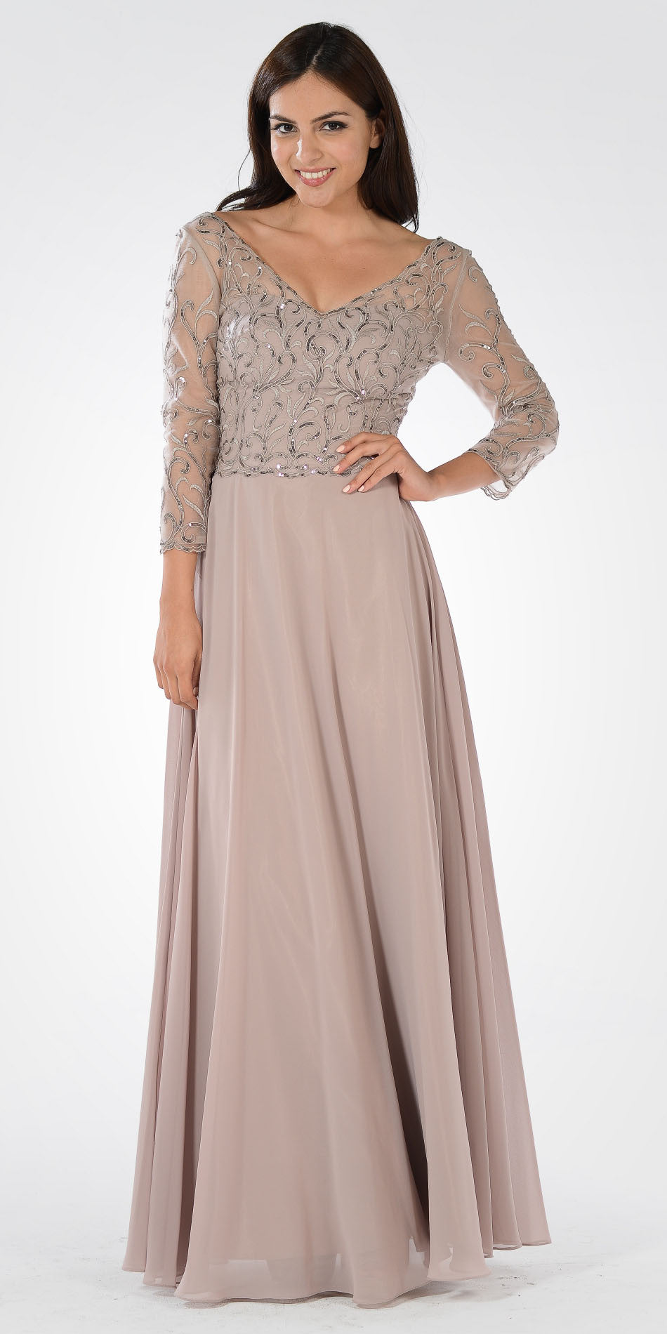 50581b6d33 V-Neck Mid Sleeves Lace Top A-Line Formal Dress Long Beige. Tap to expand