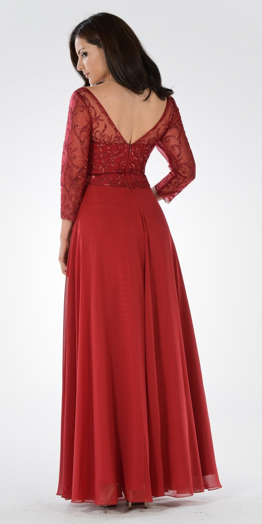 V-Neck Mid Sleeves Lace Top A-Line Formal Dress Long Burgundy